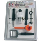 Bron Coucke DEC06TU 6 Fruit & Vegetable Decoration Tool Set with 1 Turn-Up