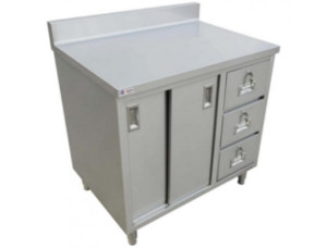 Drawer Worktables with Cabinets and Backsplash