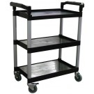 """Omcan 24183 16"""" x 24.75"""" Tray Size Black Plastic Bussing Cart"""