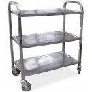 """Omcan 24418 27.25"""" x 15.75"""" Tray Stainless Steel Bussing Cart"""