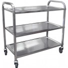 """Omcan 24419 31.5"""" x 17.6"""" Tray Stainless Steel Bussing Cart"""