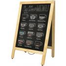 Omcan 31398 Natural Color Frame A-Frame Sidewalk Menu Chalkboard