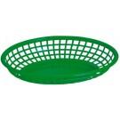 "Omcan 80359 12Pcs 9"" x 5"" Green Plastic Oval Basket"