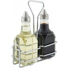 Winco G-104S Two  6oz. Square Bottles Set with Lid & Chrome-Plated Rack