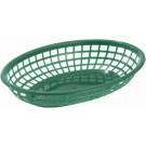 """Winco PFB-10G Oval 9-1/2"""" x 5"""" x 2"""" Green Fast Food Baskets"""