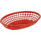 """Winco PFB-10R Oval 9-1/2"""" x 5"""" x 2"""" Red Fast Food Baskets"""