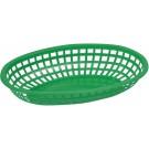 "Winco POB-G Oval 10-1/4"" x 6-3/4"" x 2"" Green Fast Food Baskets"
