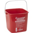Winco PPL-6R Red Sanitizing Solution 6 Quart Cleaning Bucket