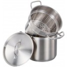 Omcan 80242 12 QT Stainless Steel Steamer / Pasta Cooker Set