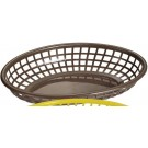 "Omcan 80358 12Pcs 9"" x 5"" Brown Plastic Oval Basket"
