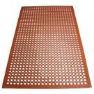 "Winco RBM-35R 3' x 5' x 1/2"" Beveled Edges Red Rubber Floor Mat"