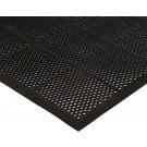 """Winco RBMM-35K  3' x 5' x 3/8"""" Beveled Edges Black Rubber Floor Mat"""