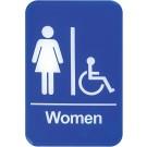"Winco SGN-651B 6"" x 9"" Blue Women Information Sign"