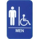 "Winco SGN-652B 6"" x 9"" Blue Men Information Sign"