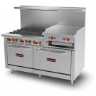 "Sierra Range SR-6B-24RG-60 60"" Range with 6 Open Burners, 24"" Raised Griddle/Broiler and 2 Ovens"