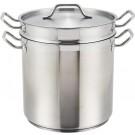 Winco SSDB-12S 12 Quart Stainless Steel Steamer/Pasta Cooker