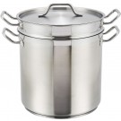 Winco SSDB-16 16 Quart Stainless Steel Double Boiler with Cover