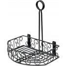"Winco WBKH-6SB 8-1/4"" x 6-1/4"" Black Wire Oblong Condiment Caddy"