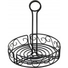 "Winco WBKH-7R 7-1/2"" Black Wire Round Condiment Caddy"