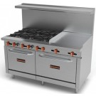 "Sierra Range SR-6B-24G-60 6 Open Burners with 24"" Griddle Section"
